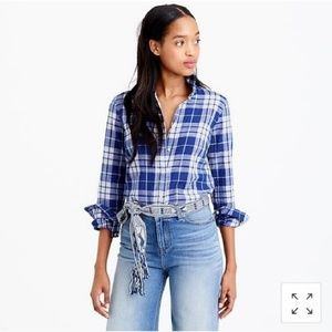 J. Crew Tall Perfect Shhirt in Blue Rinkle Plaid